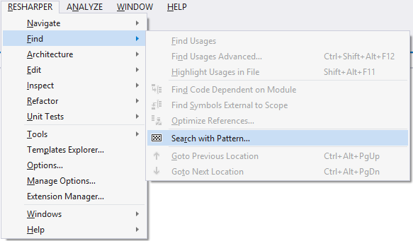 ReSharper Structural Search And Replace Menu
